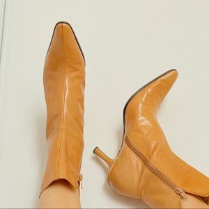 NINE WEST Leather Boots size 7 Tan